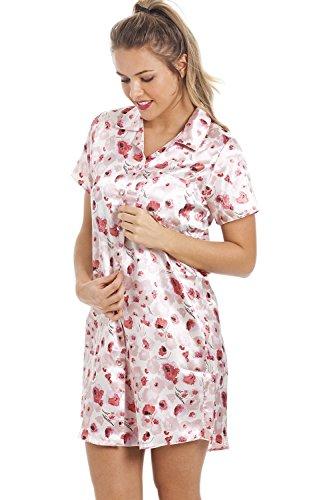 Camisón con bajo hasta las rodillas - Satén - Estampado de flores rojas - Rosa Rosa
