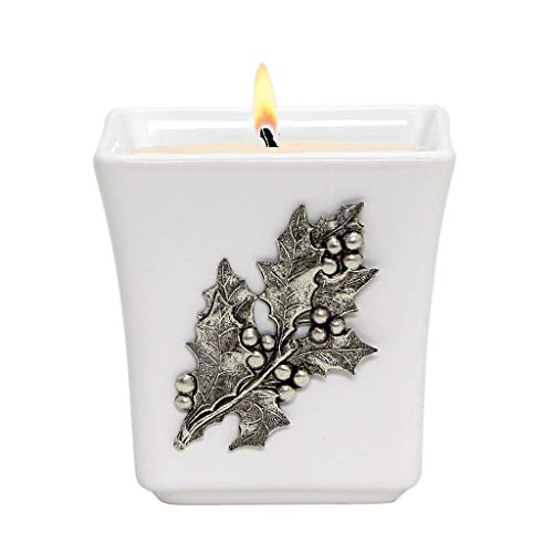 MONDIAL CANDLES Ceramic Square Candle with Ant. Silver Holly Berries and - Berries Majolica