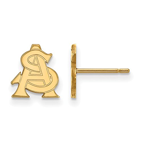 10k Yellow Gold LogoArt Official Licensed Collegiate Arizona State University (ASU) XS Post Earrings by LogoArt
