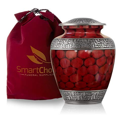 (SmartChoice Royal Cremation Urn for Human Ashes - Affordable Funeral Urn Adult Urn for Ashes Handcrafted Urn (Red))