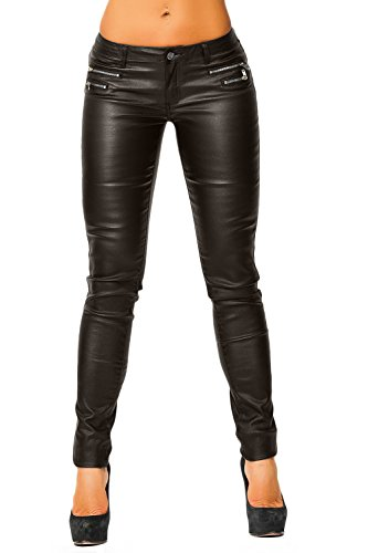 Mujer Piel Sintética Pantalones (339) marrón oscuro