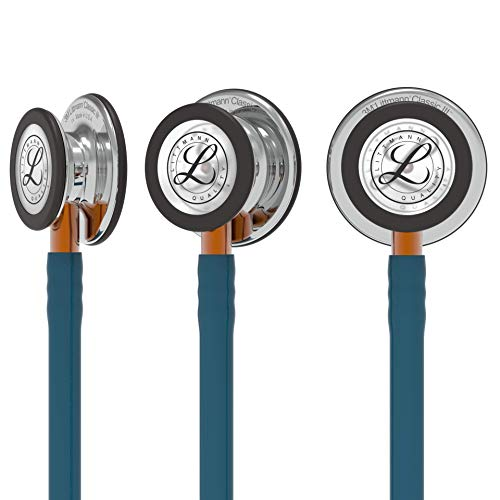 3M Littmann Classic III Monitoring Stethoscope, Mirror Chestpiece, Caribbean Blue Tube, Orange Stem and Stainless Headset, 27 inch, 5874