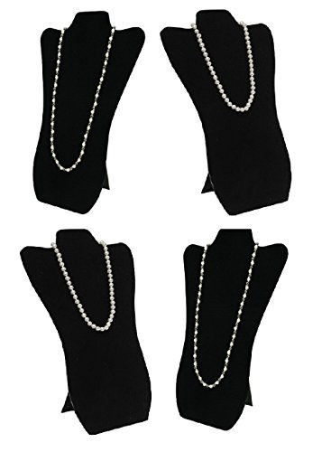 4 Pack Elegant Black Velvet Necklace Jewelry Display Easel 14