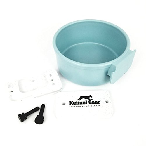 Kennel-Gear 20 oz Plastic Dog or Cat Bowl Kit, Slate Blue