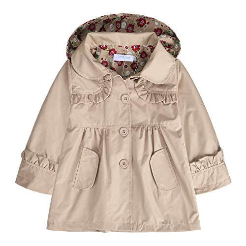 Raincoat Jacket Parka (Arshiner Girl Kid Flower Waterproof Hooded Coat Jacket Outwear Raincoat, Khaki 120)