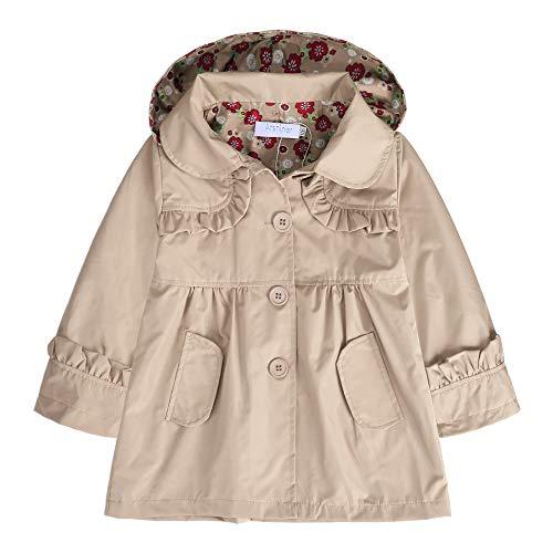 Khaki Raincoat - Arshiner Girl Kid Flower Waterproof Hooded Coat Jacket Outwear Raincoat, Khaki 110