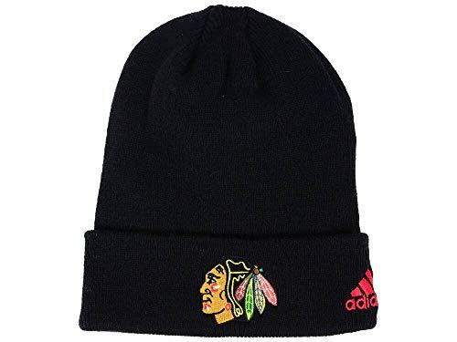 - adidas Chicago Blackhawks Black Cuffed Beanie Hat - NHL Cuff Knit Toque Cap