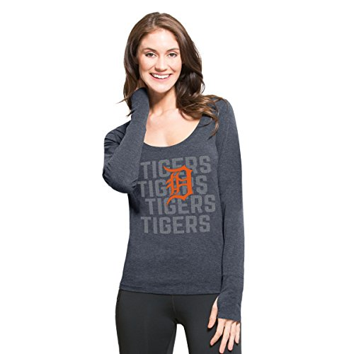 '47 MLB Detroit Tigers Women's Forward Long Sleeve Tee, Shift Navy, Medium (Detroit Tigers Long Sleeve)