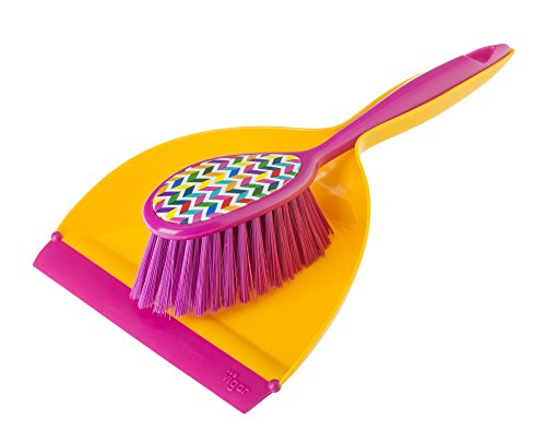 Vigar Hans Handy Set, 2-Piece Dustpan and Brush Set, 8-1/4-Inches by 3-Inches by 12-3/4-Inches, Multi Colored by Vigar