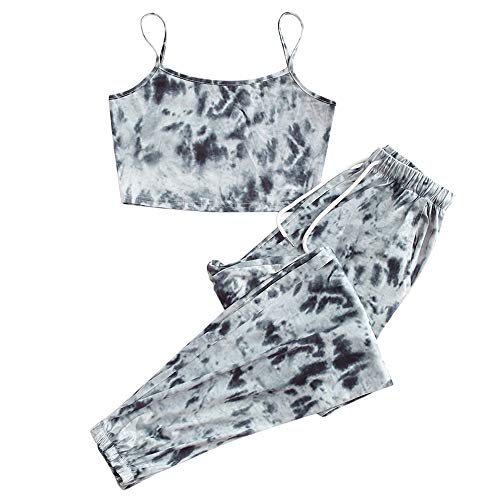 ZAFUL Women's Tie Dye Cami Crop Top and Jogger Pants Set Workout Set Tracksuit