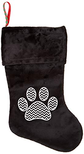- Mirage Pet Products Chevron Paw Screen Print Velvet Christmas Stocking, Size 18, Black