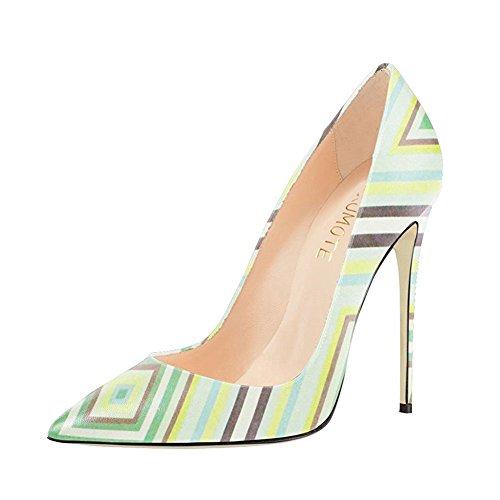 MERUMOTE - Zapatos de tacón fino Mujer Green Stripe