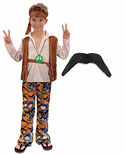 Fancy Dress Hippy (Boys Girls 60S 70S Hippy Fancy Dress Costume Outfit With Moustache Age 4-6)