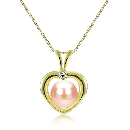 La Regis Jewelry 14k Yellow Gold 5-5.5mm Pink Freshwater Cultured Pearl and 1/100cttw Diamond Pendant Necklace, - Yellow Jewelry Box Freshwater