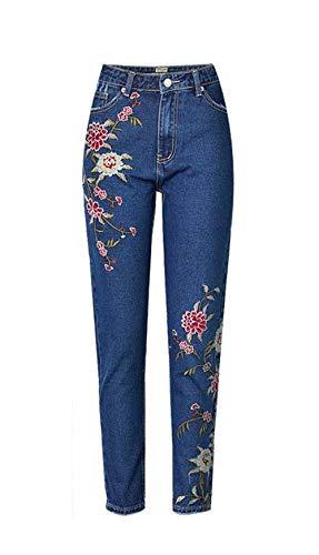 Recto Capri Cintura Pantalones Casuales Con Ropa De Oscuro Saoye Jeans Alta Fashion Las 3d Azul Florales Flacos Bolsillos Mezclilla Bordado Mujeres gq7S1P6