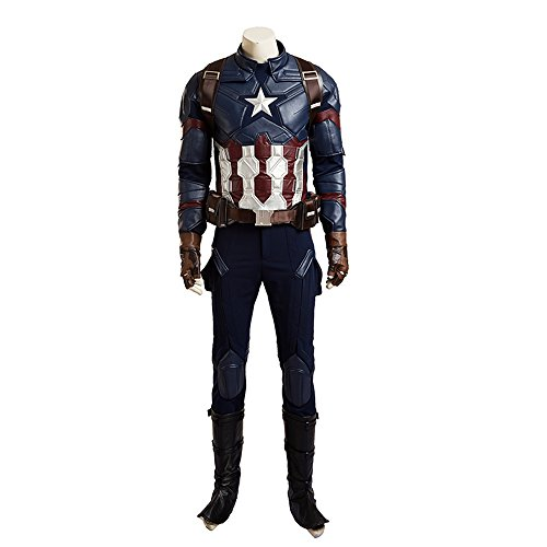 MLYX Men's Captain America Civil War Captain America Cosplay Costume Deluxe Outfit (Large, Whole (Custom Made Captain America Costume)