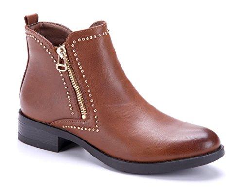 bf54720dd081 Stiefeletten Damen used Blockabsatz Nieten Boots Camel Schuhe Klassische 5  Schuhtempel24 Stiefel Look Cm qRtddH ...