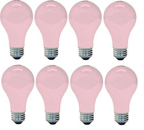 Buffalo Glass Table Lamp - GE 97483 Light 60w, Soft (8 Bulbs), Pink