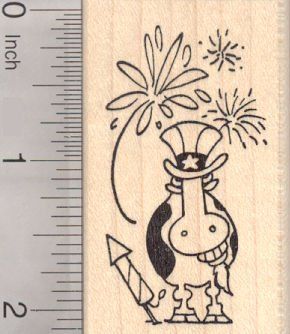 Fourth of July Grinning Cow Rubber Stamp, Uncle Sam Costume