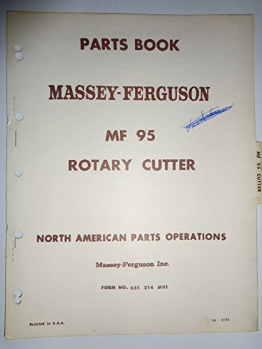 Massey Ferguson MF 95 Rotary Cutter Parts Catalog Book Manual Original 7/65