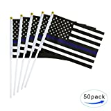 TSMD Thin Blue Line USA American Police Flag 50 Pack Small Mini Hand Held Honoring Law Enforcement Officers US Flags On Stick,Police Theme Party Event Decorations For Sale