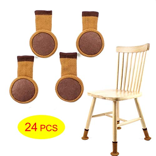 Chillpaper Chair Leg Socks for Hard Wood Floor Protectors,Furniture Stretch Knitting Wool Socks with Felt Pads,Fit Square & Round Feet Girth 3-6/11