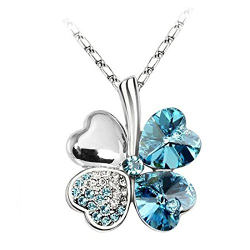 BodyJ4You Four Leaf Clovers Necklace Aqua Four Leaf Heart Crystal Pendant with (Four Hearts Necklace)