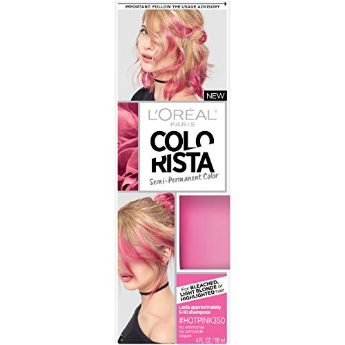 Amazon Com L Oreal Paris Colorista Semi Permanent Hair Color For Light Blonde Or Bleached Hair Hot Pink Beauty