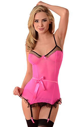 nd Sexy Bustier 3002a Medium/Large Hot Pink (Mesh Ruffled Bustier)