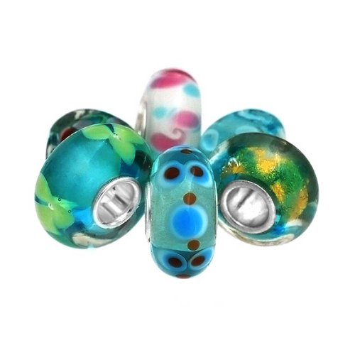 Set of Six Bundle Multicolored Murano glass Lampwork Bead Charm .925 Sterling Silver by Bling Jewelry