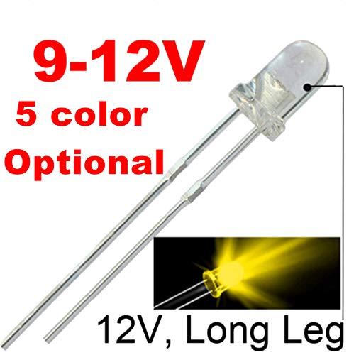 50pcs 12V 3mm Yellow/Amber LED ()