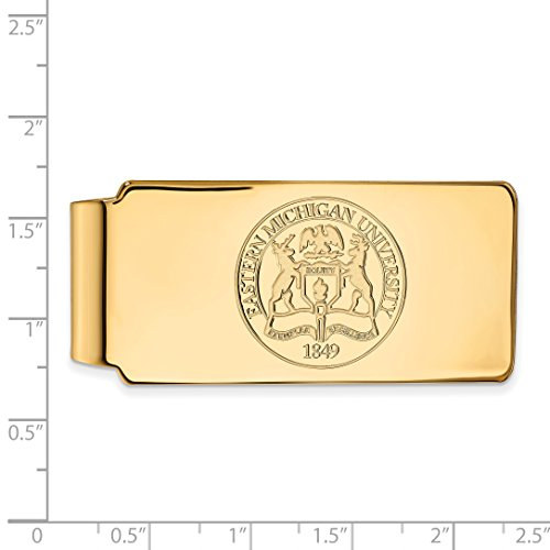w Eastern Licensed LogoArt University Official Michigan Collegiate Money 14K Clip Sterling Silver Crest Plated Gold EMU Yellow 5qwBBTgxS