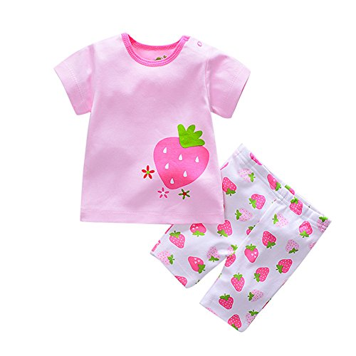 Baby Boys Girls Outfits 2 Pieces Short Sleeve T-shirt Newborn Cotton Clothes Kids Suit Set Tops+Pants Strawberry 18 Months