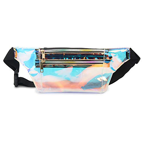 Mum's memory Holographic Fanny Pack for Women - Metallic Sport Waist Pack for Men for Running, Hiking, Traveling, Camping, Partying, Jogging (Clear Gold)