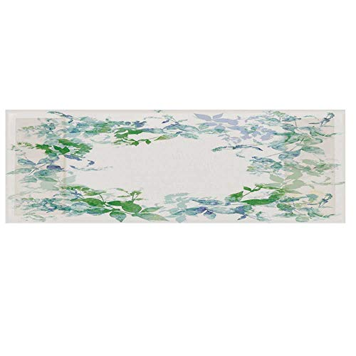 """Mint Cotton & Linen Microwave Oven Protective Cover,Floral Spring Wreath in Watercolor Paintbrush Stylized Hazy Effects Artful Cover for Kitchen,36""""L x 12""""W ()"""