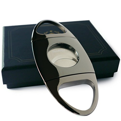 Cigar Cutter - Gun Color Chrome Finish - Self Sharpening Blades - Stainless Steel Guillotine Style - Includes Sturdy Protective Box - Suitable for Travel - Smoking Accessories - Gifts for Dad