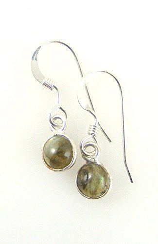 Small Genuine Labradorite Dangle Earrings Tiny Gemstone Drops in Sterling Silver Gray Blue Flash
