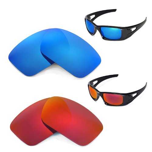 New Walleva Polarized Fire Red+Ice Blue Replacement Lenses For Oakley Crankcase (New Crankcase)