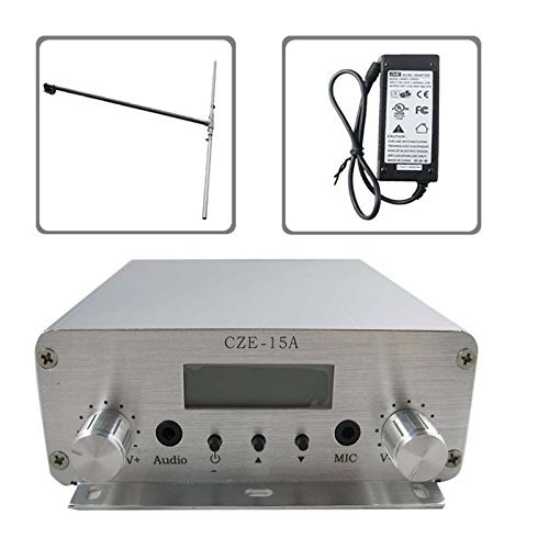 CZH CZE-15A 15W 88MHz~108MHz FM Stereo PLL Radio Broadcast Transmitter DP100 Dipole Antenna