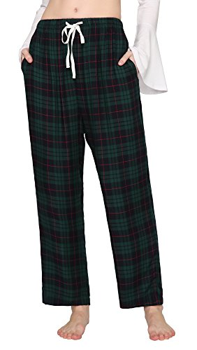 Pajama Ladies Pants Green Plaid (EEVASS Women's Vintage Elastic Waist Plaid Pajama Pants Sleepwear (S, Green))