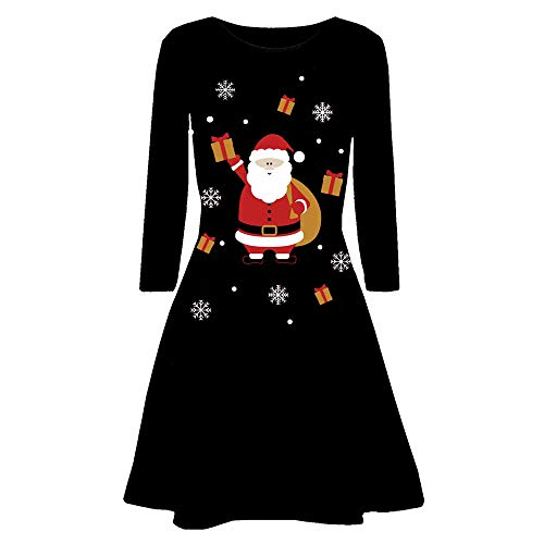 FEDULK Womens Christmas Dress,Santa Claus Print Pullover Long Sleeves Flared A Line Dress(Black4 , US Size L = Tag -
