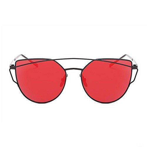 espejo moda AOLVO en de calle mujer lentes gafas la gato gafas sol Marco de de con metal de para Gafas Ojo de Retro de funda negro CAT sol mujeres soporte Rojo negro eye sol UV400 FqX4x1tw