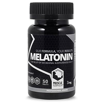 Professional Grade Melatonin by Muscle Formula - 3mg - 50 count - Sleep Aid - Brain Health