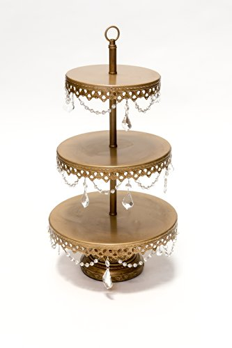 Opulent Treasures 3 Tiered Chandelier Dessert Tray Stand, Antique Gold, Wedding, Anniversary, Birthday Party Buffet Server