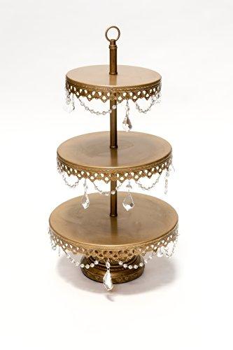 Opulent Treasures 3 Tiered Chandelier Dessert Tray Stand, Antique Gold, Wedding, Anniversary, Birthday Party Buffet Server (Opulent Treasures)