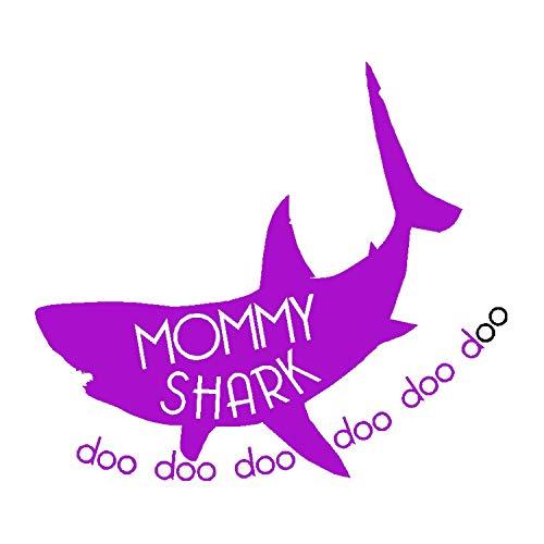 (Mommy Shark Decal, Daddy Shark Doo Doo Doo Sticker, Baby Shark Doo Doo Doo Doo Bumper Sticker, Baby Boy Girl Clothes Shark (H 6 by L 6 Inches, Purple))