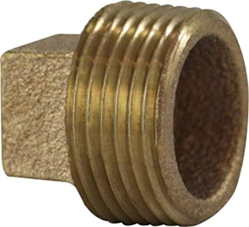 1//4 Size Bronze Midland 44-651 Bronze Fitting Cored Square Head Plug 0.37 Hole Diameter 0.69 Length