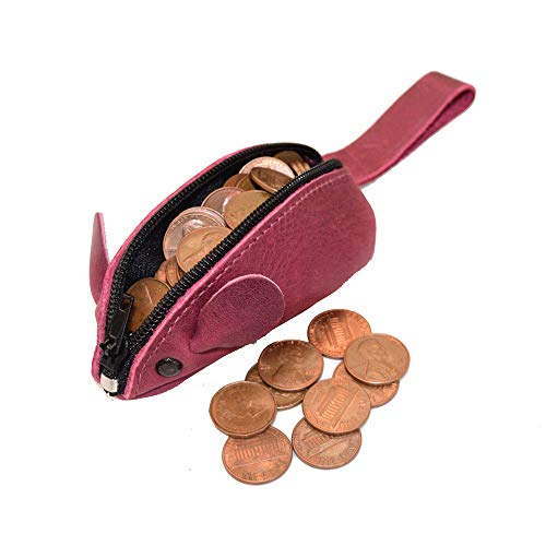 Hide & Drink, Rustic Leather Mouse Coin Purse Change Pouch Handmade Includes 101 year Warranty :: Sangria