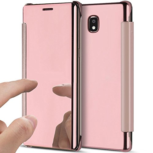 PHEZEN Galaxy J5 Pro 2017 Case, Luxury Mirror Makeup Case Plating Clear View PU Leather Flip Folio Case Magnetic Closure Full Cover Case for Samsung Galaxy J5 Pro 2017(Rose Gold)