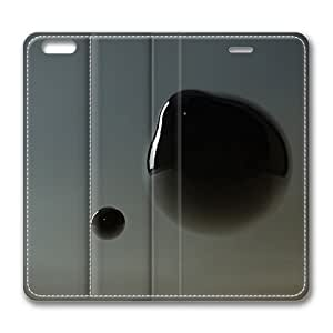 Abstract Black Bubble Standing Leather Smart Cover Case Exclusive for iPhone 6 Screen